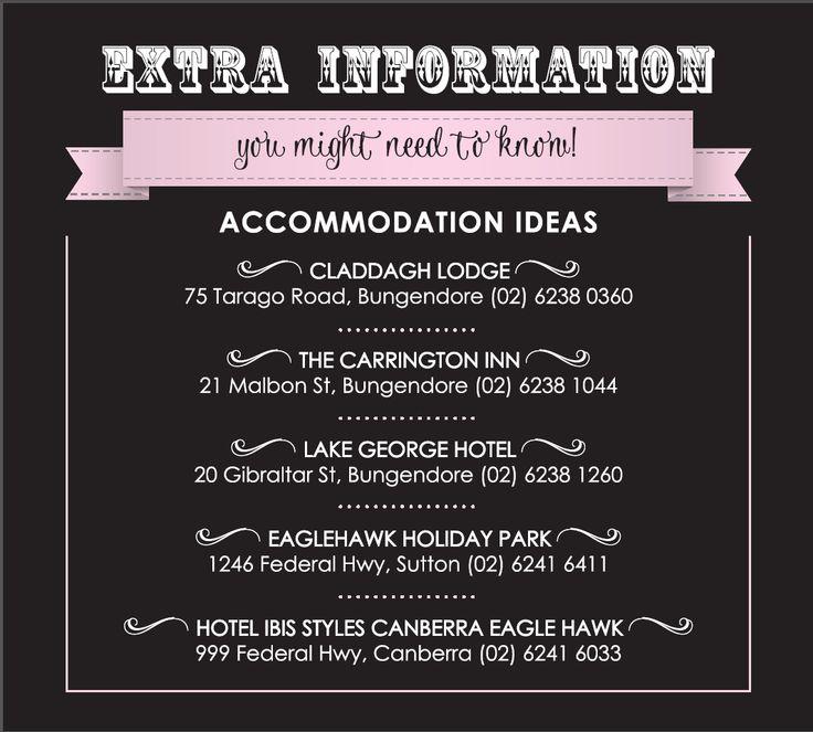 Additional information for guests for our wedding