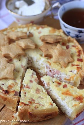 Torta salata di pasta brisé farcita con ricotta, provola e prosciutto cotto, sul mio blog, la cuoca eclettica, la ricetta
