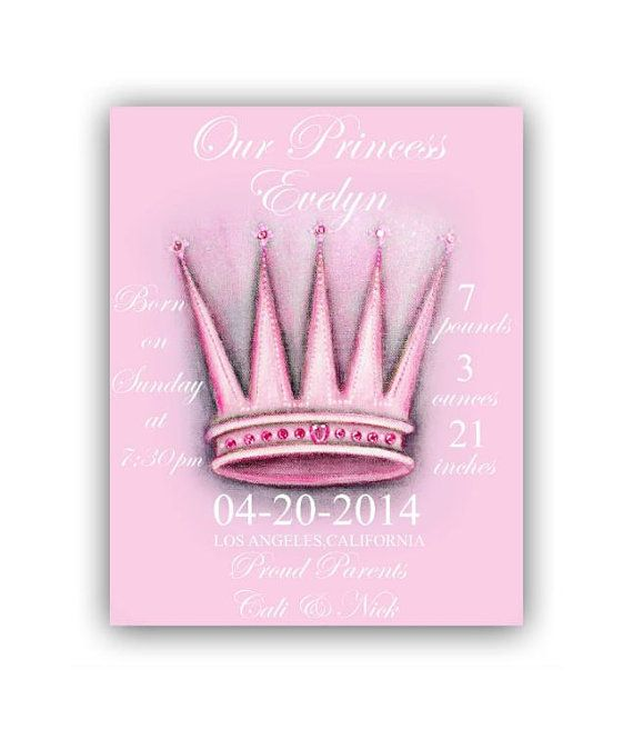 Baby Girl Princess Birth announcement Birth Stats Art Print
