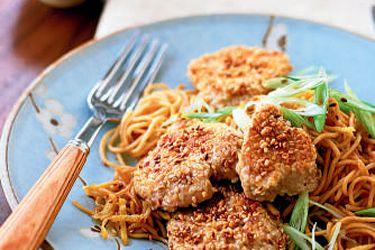 Sesame pork with ginger noodles