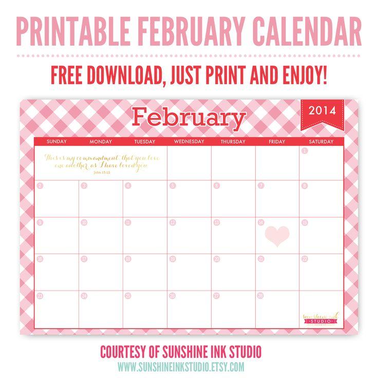 Printable February Calendar Freebie!  Print and enjoy, courtesy of Sunshine Ink Studio on Etsy.