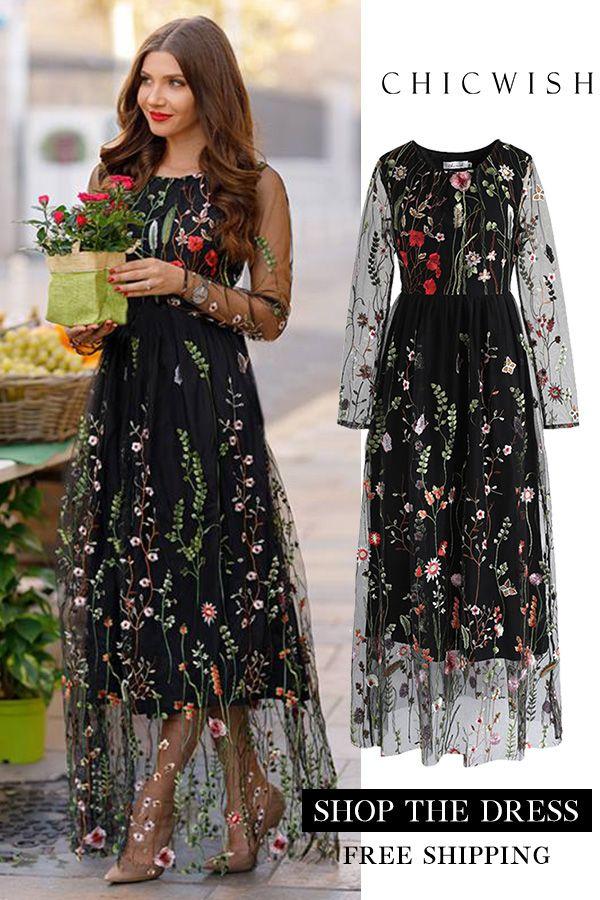 ladies elegant bird Embroidered long dress long transparent sleeve maxi dress
