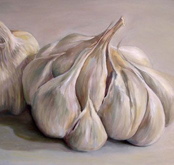 """Garlic"" Subtle shades of an almost monochromatic bulb of garlic are emphasized in this still life 12 x 12 oil on masonite"