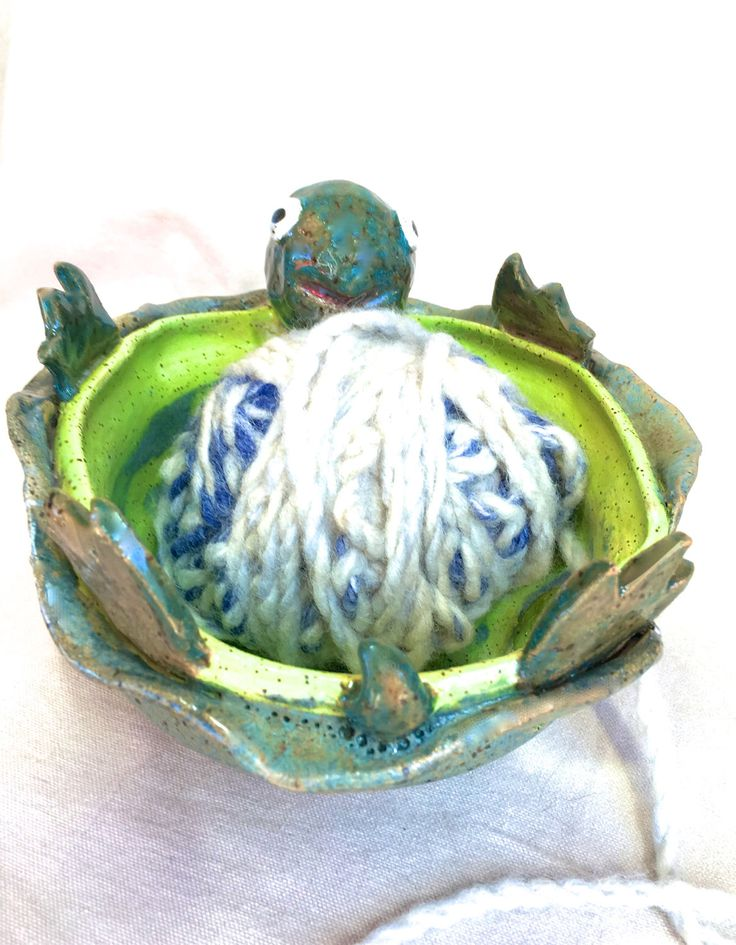 Turtle Yarn Bowl, studio second ceramic knitting bowl tortoise yarn storage pottery yarn pot gift for knitter crochet lover knit sea turtle by FunNFiber on Etsy