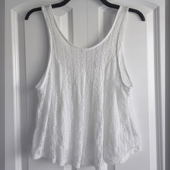 NWOT White Lace Tank Top White laced tank top and never worn                    ⚡️Fast shipping                                                      Bundling discounts Candie's Tops Tank Tops