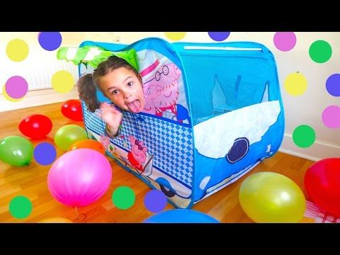 Peppa Pig Camper Van Huge Surprise Tent: Balloons, Peppa Toys and Paw Patrol, Baby Alive Toy Doll - YouTube