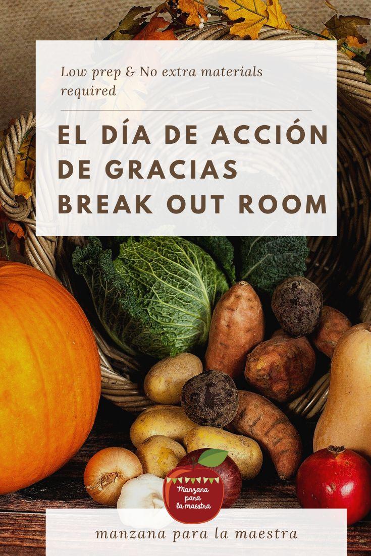 Día de Acción de Gracias Break Out Room Spanish ...
