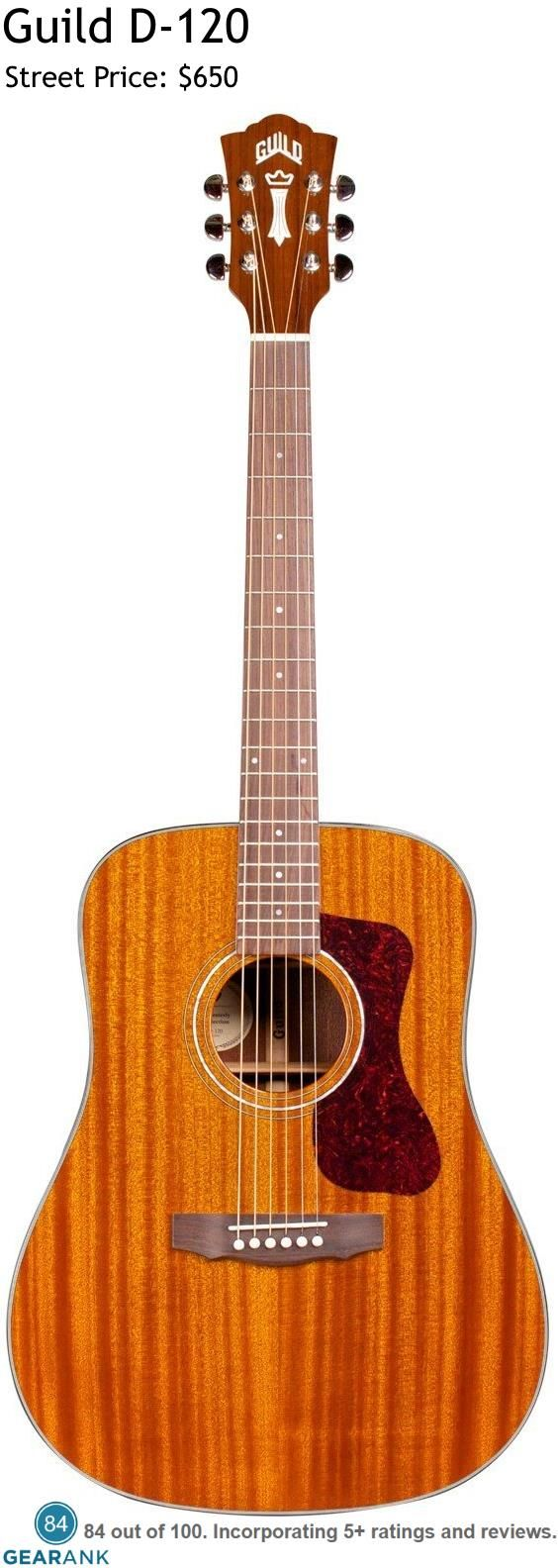 Guild D-120 Acoustic Guitar. Dreadnought size body built with solid African mahogany top, back and sides, the D-120 features an Indian Rosewood fingerboard and bridge, bone nut and saddle, and mother-of-pearl rosette. For a Detailed Guide to Acoustic Guitars see https://www.gearank.com/guides/acoustic-guitars