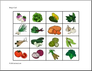 Garden Veggies Bingo. 20 Bingo cards and a check off sheet ...