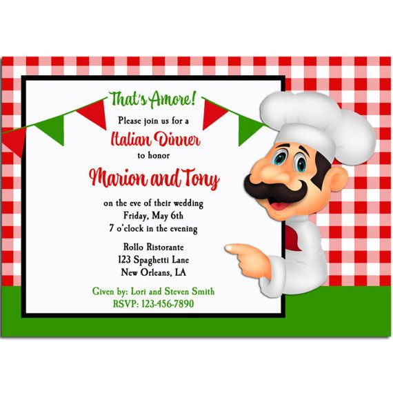 Italian Party Invitation Printable Or Printed With Free