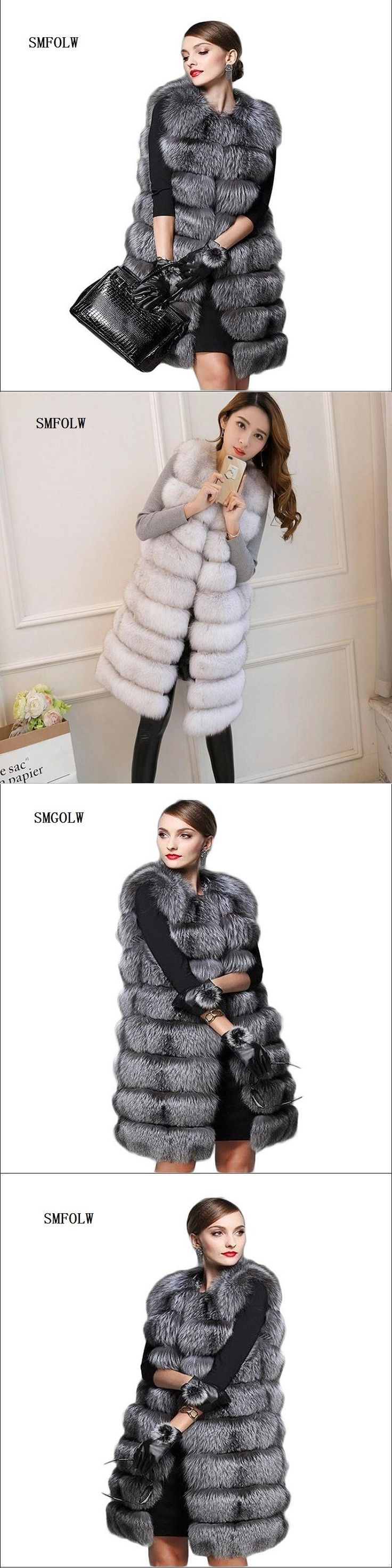 2017 new faux fur coat women's fur vest silver fox hair Colete Feminino lengthen plus sizeS/6XL winter women
