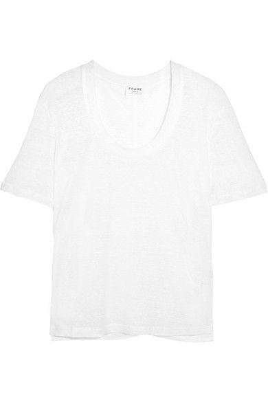 FRAME - Slub Linen T-shirt - White - medium