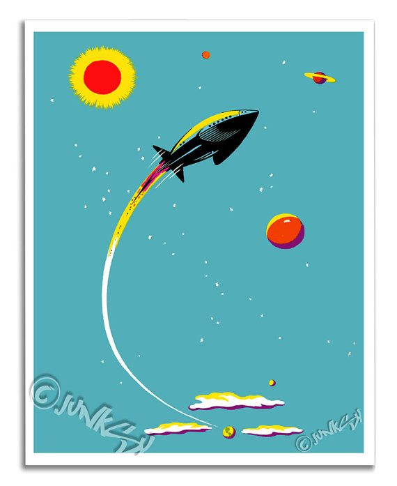 Rocket Ship in Outer Space  Vintage Art Print