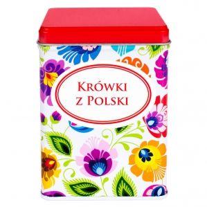 Krówki z Polski 200g w ozdobnej puszce FOLK - czerwone