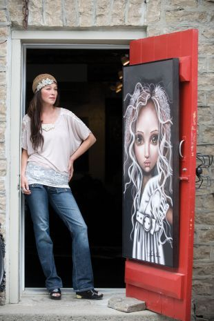 Angelina Wrona, Merrickville ON artist; owns Anarchy Gallery.