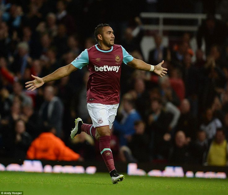 September 14th. 2015: West Ham attacking midfielder Dimitri Payet celebrates after scoring his second goal of the evening at Upton Park, a 2-0 win taking the Hammers up to fifth in the table and putting Newcastle bottom.