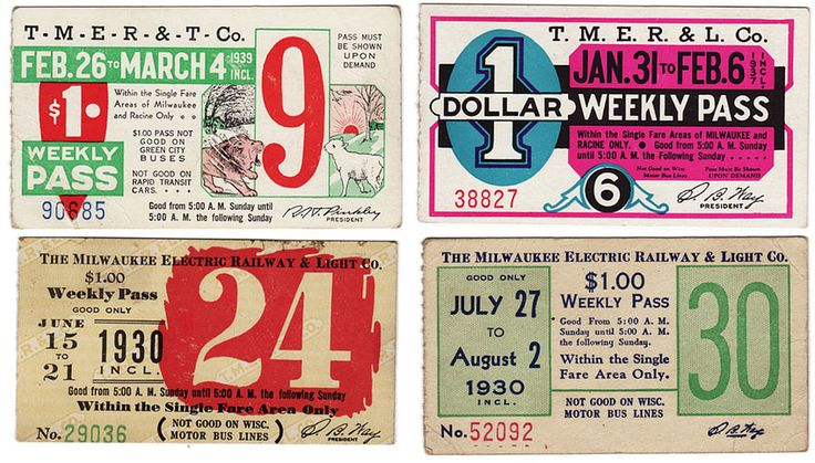milwaukee bus tickets from the 1930s