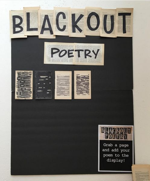 Blackout Poetry Library Display at Oregon City Public Library