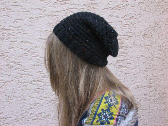 Black flecked wool hat for women II
