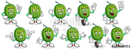 "Download the royalty-free vector ""Watermelon mascot set, Watermelon character pack, vector of Watermelon cartoon."" designed by ednal at the lowest price on Fotolia.com. Browse our cheap image bank online to find the perfect stock vector for your marketing projects!"