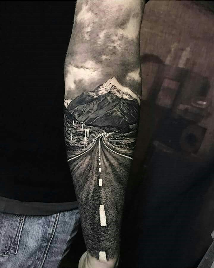 This tattoo is truly AMAZING! So artistic! Scenery tattoo. If I could be guaranteed a tattoo to turn out like this there'd be no going back. WOW Mount…