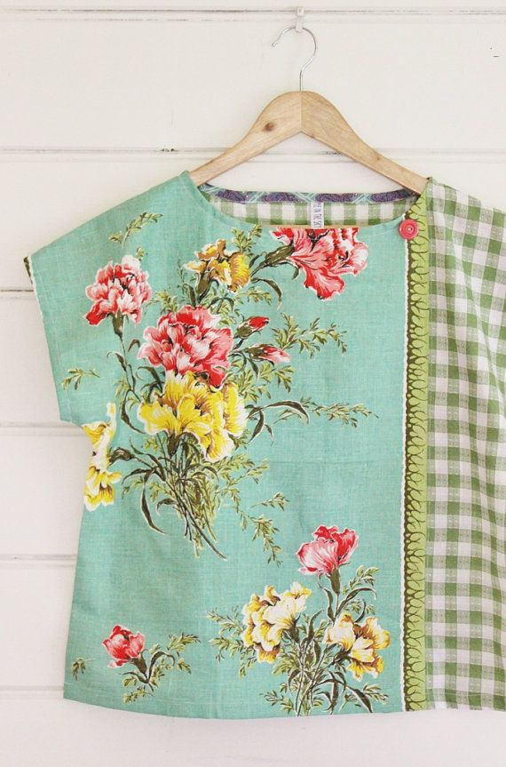 Upcycled Tea Towel Patchwork Women Top Shirt Linen by apieceofpie