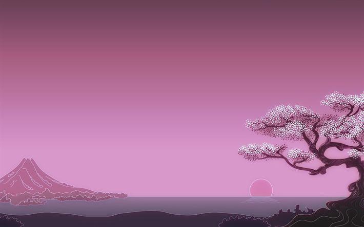 Download wallpapers Mount Fuji, minimal, 4k, art, sunset, sakura, Japan