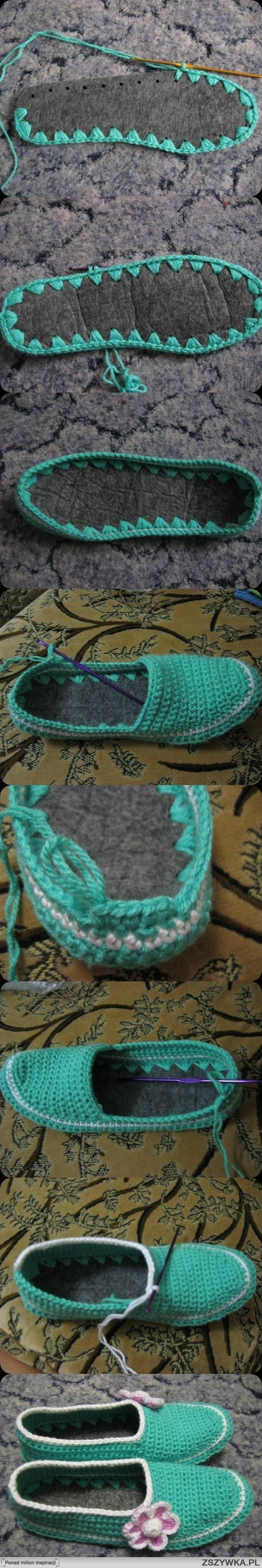Find a felt shoe liner that fits your foot and use it as the base/sole of your slipper