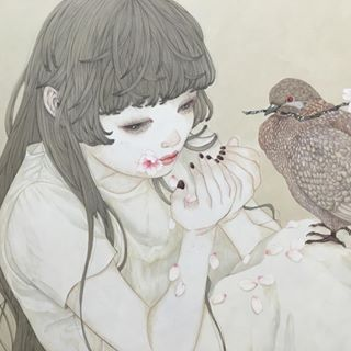 Instagram photo by Yuka Sakuma (@sakuma.yuka) 13/04/2016 detail 麻紙に墨、岩絵具 natural mineral pigments, Japanese ink on hemp paper #illustration #art#japanesepainting#日本画#イラスト#アート#絵#桜