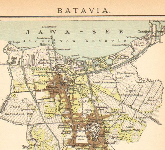 1896 Original Antique Dated Map of Batavia by CabinetOfTreasures, $16.95