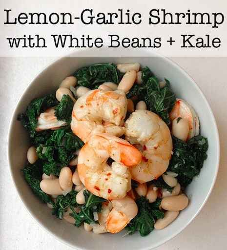 Lemon Garlic Shrimp with Kale and White Beans. Looks good, most ingredients are always sticked at home