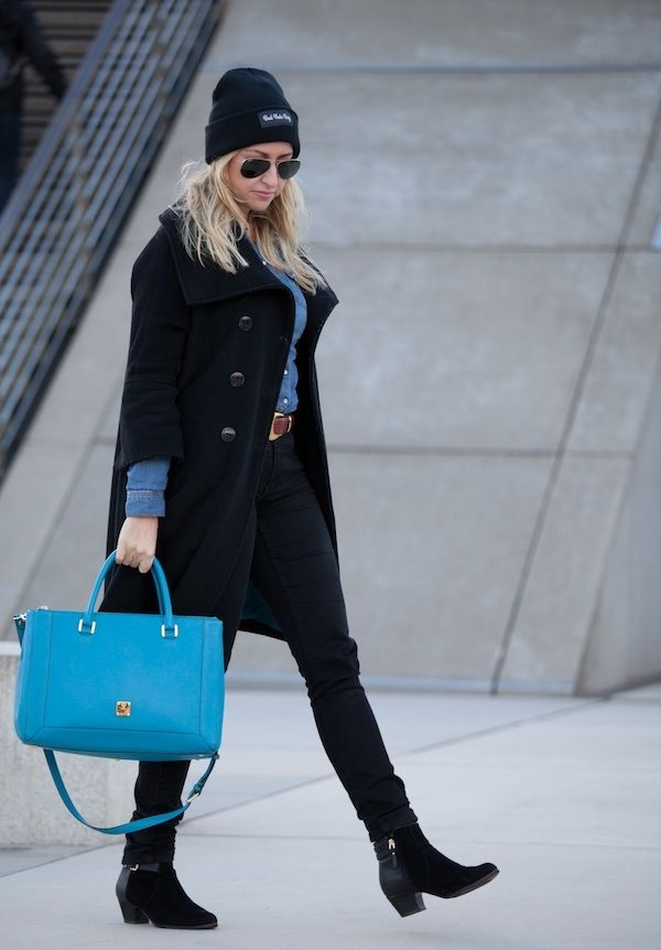 Black and blue for fall with my beloved MCM bag