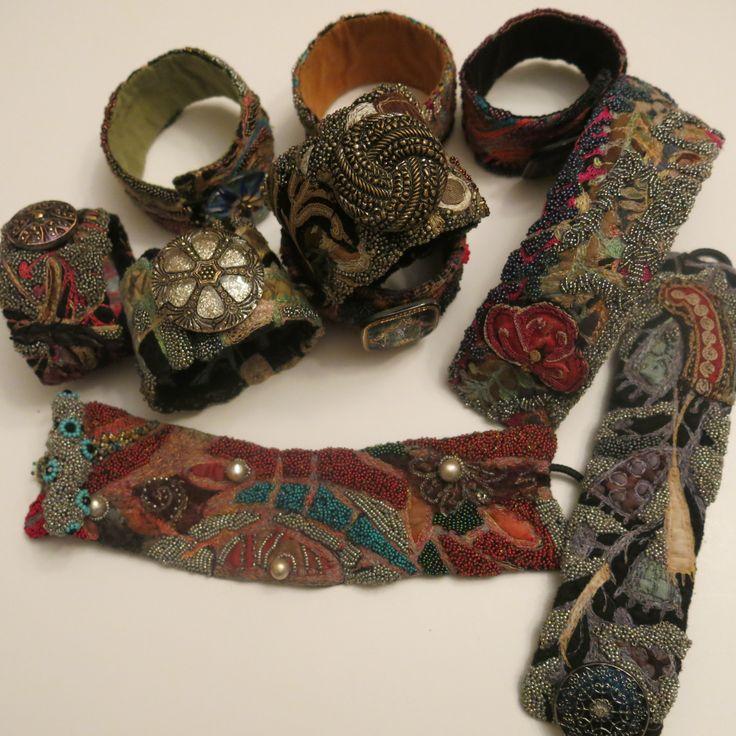 Machine stitched and beaded felt bracelet... Gordana Brelih