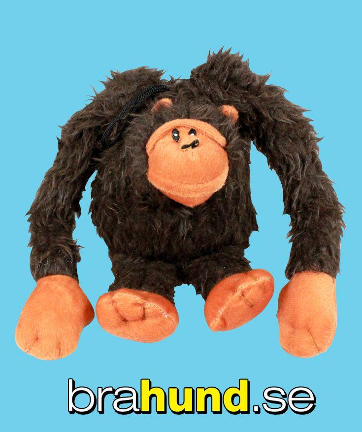 Gorilla i plysch med päls, som piper när hunden biter i den, 35 cm.