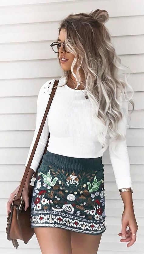 #summer #outfits White Top + Black Printed Skirt + Brown Shoulder Bag
