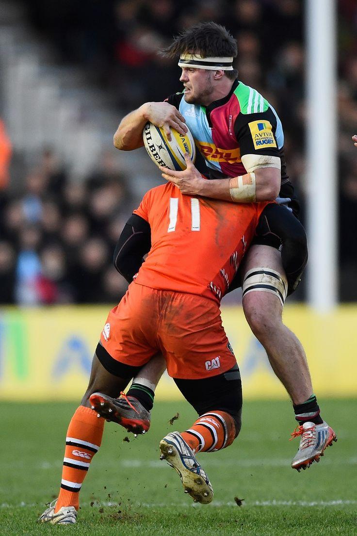 Harlequins Jack Clifford is tackled by Miles Benjamin