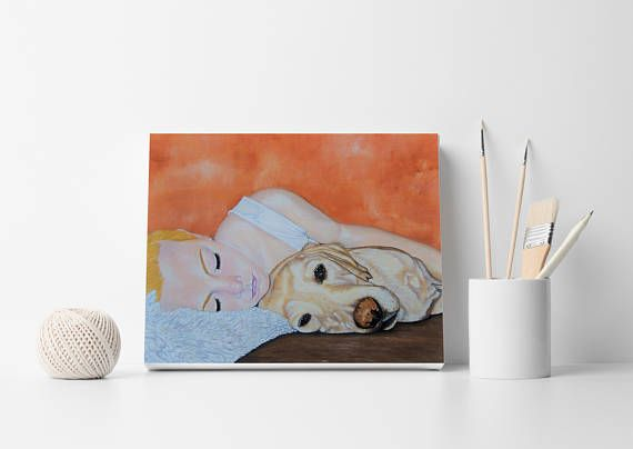 Girl with dog Custom portrait Dog with person portrait Custom