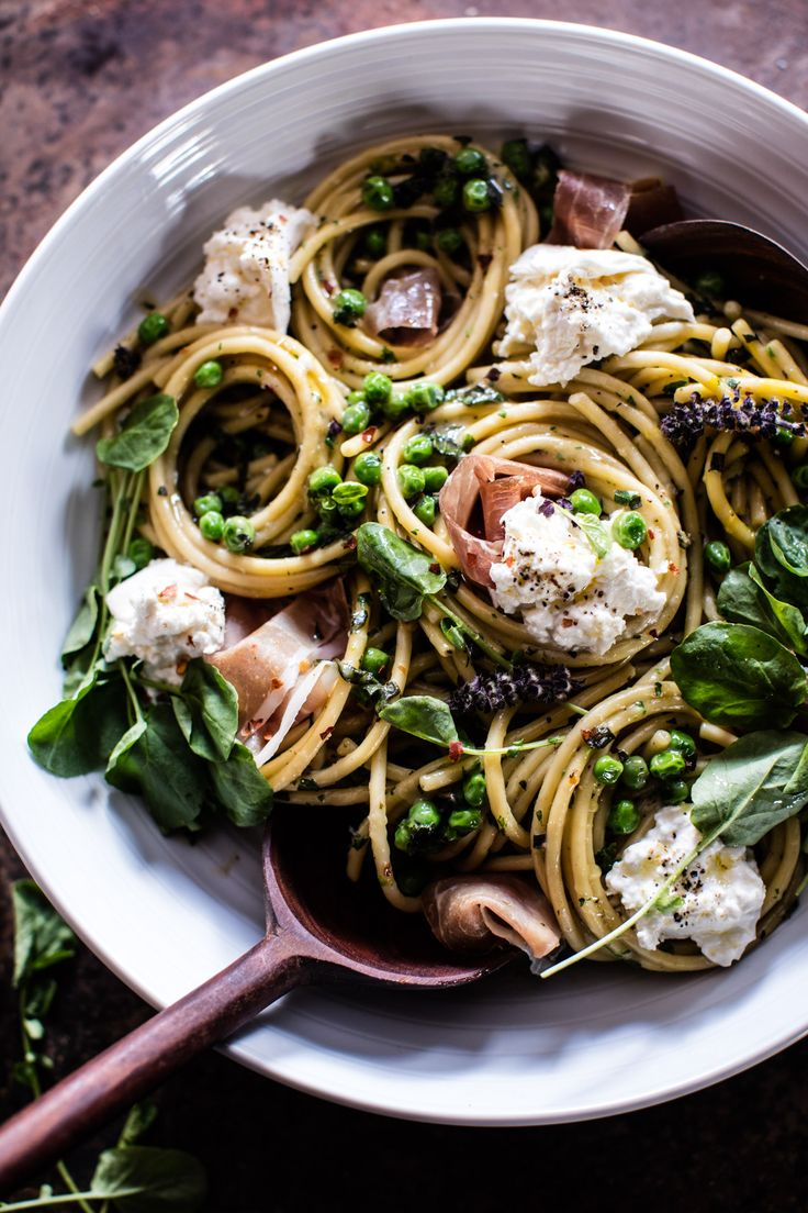 Simple Buttery Spring Pea and Burrata Pasta with Prosciutto - 25 mins, one pot, one bowl, plenty of greens and tons of flavor! From halfbakedharvest.com