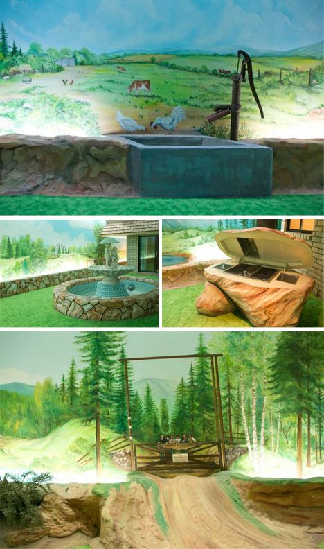 It may look like the 1970's, but this underground bunker home in Las Vegas would make a perfect home!  bunker house faux outdoors