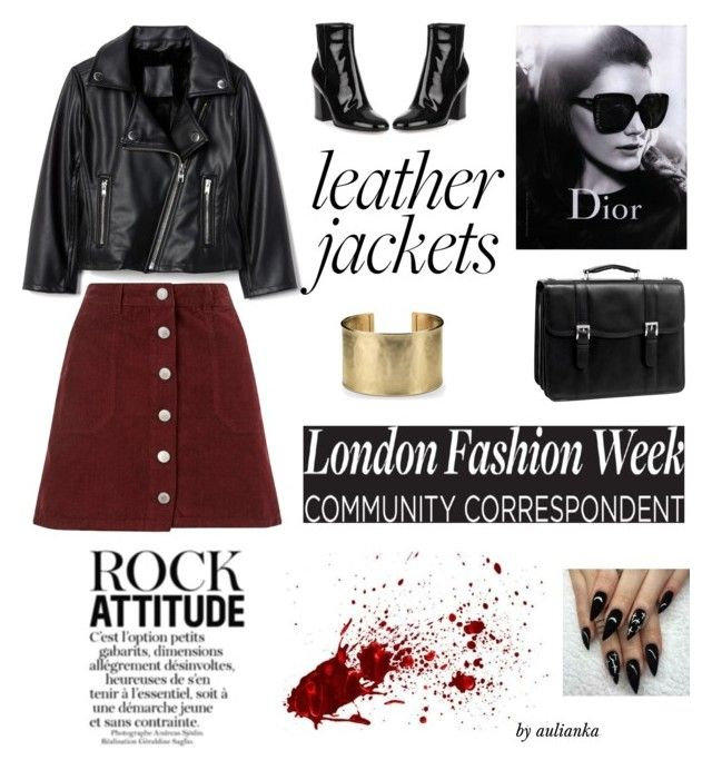 """Leather Jackets"" by aulianka on Polyvore featuring Miss Selfridge, Gianvito Rossi, McKleinUSA, Blue Nile and Christian Dior"