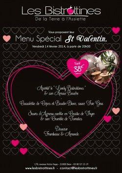 Pour la saint Valentin, fête des amoureux et de l'amitié, la brasserie dijonnaise Les Bistrottines vous propose un menu spécial qui devrait épater les amoureux. Voici le menu Saint Valentin que nous vous proposons pour célébrer la fête des amoureux…