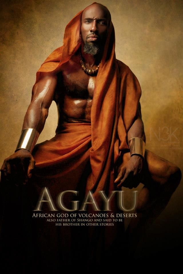 In Yoruba mythology, Aganju is the Orisha of volcanos, the wilderness, and the river. He is associated with Saint Christopher.    As the third Òrìsà said to have come to earth, Aganjú is an Òrìsà of great antiquity.