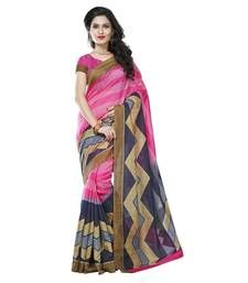 Buy Nice-looking Pink Colored Printed Art Silk Saree party-wear-saree online