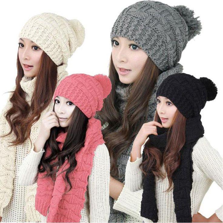 Knit Cap Hooded Shawl Scarf Set