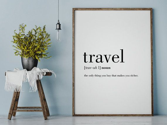 Travel Definition Printable Travel Quote Word Poster by printabold