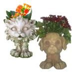 12 in. in. Scruffy in. the Cat and in. Muttley in. the Dog Muggly Animal Statue Planter (2-Pack)