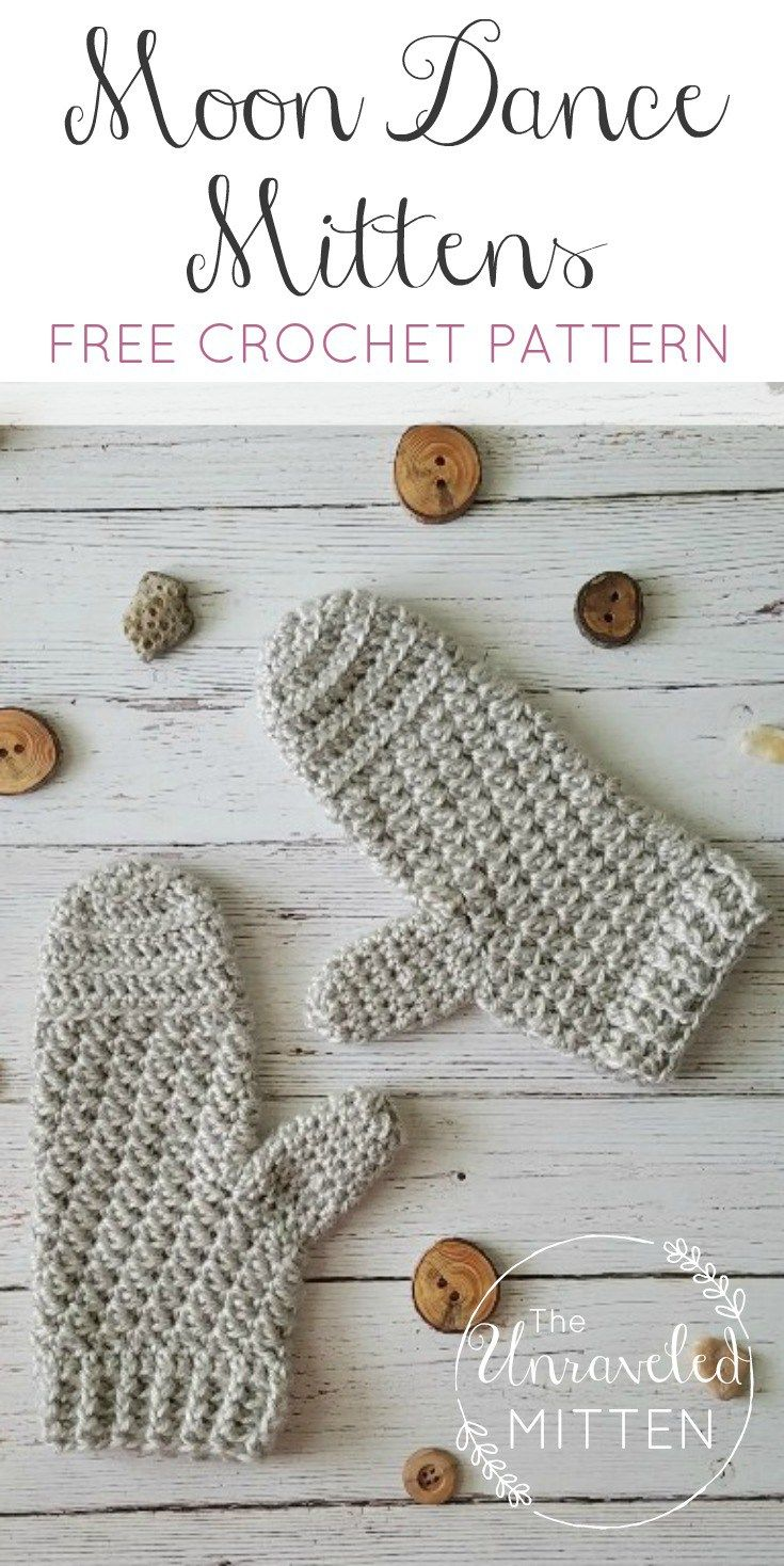 Moon Dance Mittens: FREE #Crochet Pattern | The Unraveled Mitten | Easy crochet mittens | textured | lion brand heartland yarn | One skein project
