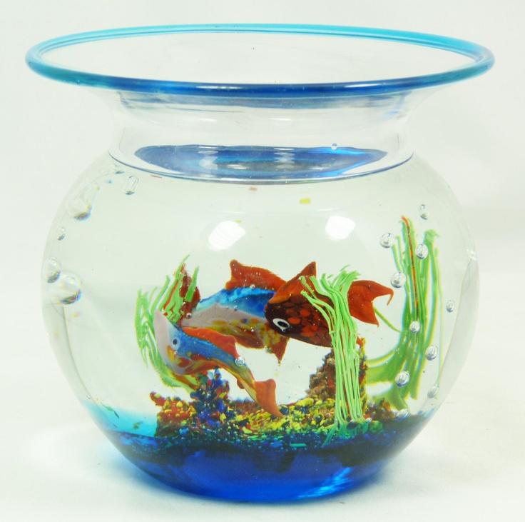 Murano blown glass fish bowl decoration murano italian for Fish bowl glass