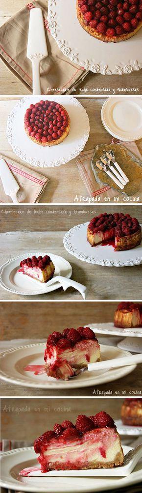 Pastel de queso con leche condensada y frambuesas / http://atrapadaenmicocina.blogspot.com.es/