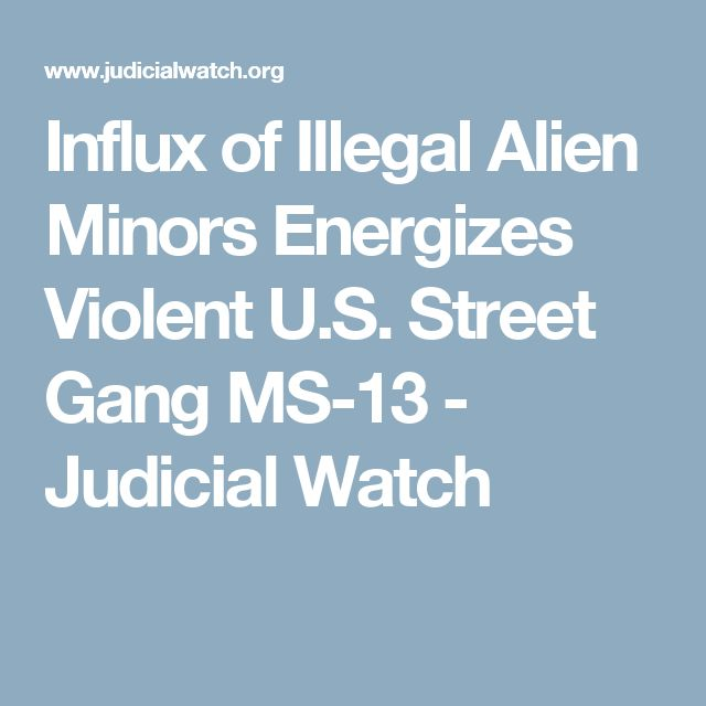 Influx of Illegal Alien Minors Energizes Violent U.S. Street Gang MS-13 - Judicial Watch